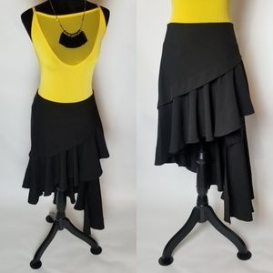 Asymmetrical Ruffle Skirt Black